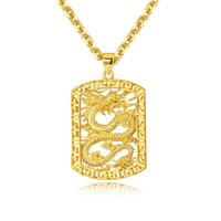 joyas de dragones al por mayor-Roca de los collares pendientes de oro de 18 quilates que ahueca el dragón Dominante personalidad áspera joyería del diseñador para los hombres Hip Hop collar de cadena de acoplamiento de Cuba