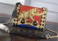 belas bolsas vermelhas venda por atacado-Único Ombro chave de alta qualidade agradável Genuíno Couro de corrente de metal saco vermelho Mulher marca bolsa de luxo