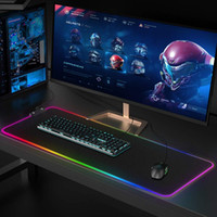 Lager Gaming Mouse Pad RGB LED Glowing Colorful 1 HUB Port Large Gamer Mousepad Non-Slip Desk Mice Mat 7 Colors for PC Laptop(80 * 30 * 4mm)