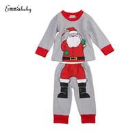 ingrosso pigiama unisex-Xmas Kids Boys Santa Pigiama Pjs Abbigliamento Set Toddler Kid Pigiama Outfit Manica lunga Tops + Pantaloni lunghi Vestiti Festivel di Natale