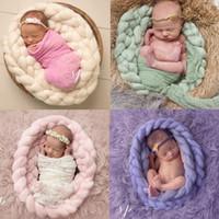 alfombras de niñas al por mayor-Sólido bebé fotografía apoya dormir combinado recién nacido Mat Alfombra chica Envolver Cojín infantil la foto del fondo de la trenza de Torsión Mantas