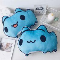 almohadas anime gato al por mayor-Anime relleno almohada Bugcat Capoo Cosplay gato azul lindo juguetes de peluche decoración para el hogar cojín Y19062803