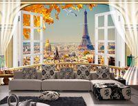 papier peint eiffel achat en gros de-3d papier peint personnalisé photo murale balcon Paris paysages Tour Eiffel fond salon décoration 3D peintures murales papier peint pour murs 3 d