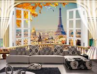 paris zimmer dekor großhandel-3d wallpaper benutzerdefinierte foto mural balkon paris landschaft eiffelturm hintergrund wohnzimmer wohnkultur 3d wandbilder wallpaper für wände 3 d