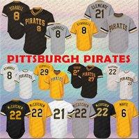 logotipo pirata venda por atacado-Camisa de Pittsburgh 8 Stargell Piratas 21 Clemente 27 Tekulve 29 Cervelli 6 Marte 22 Blusas de beisebol dos homens McCutchen costurado Logos Bordados