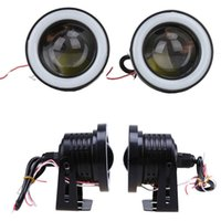 Wholesale led halo light rings for sale - Group buy 1 Pair inch White Red Blue Light Car Angel Eye COB Halo Ring LED Projector Lamp Fog Driving Light
