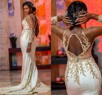 Wholesale dress gowns resale online - Illusion Long Sleeve Mermaid Arabic Evening Dresses Sheer Neck Keyhole Neck Lace Beaded Luxury Plus Size Aso Ebi Prom Gown