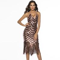 geometrische kostüme großhandel-Jahrgang der 1920er Jahre große Gatsby Kleid Pailletten Fransen Flapper Kleid Kostüm Sexy Wave geometrische V-Ausschnitt rückenfreie, figurbetontes Midikleid