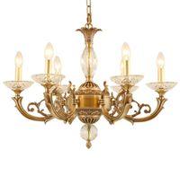 candelabros de bronce cristales al por mayor-Envío gratis D65cm European Copper AC Luxury Crystal Chandeliers Bronze lámpara colgante para sala de estar y restaurante araña LLFA
