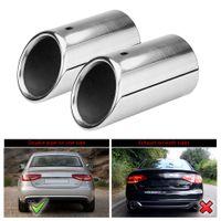 cinta de color canela al por mayor-Tubo de cola con punta de silenciador de escape de acero inoxidable 2x para Audi A4 B8 2007-2014