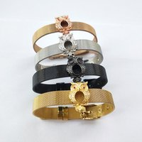 Wholesale owl shaped bracelet resale online - Fashion Jewelry Watch Belt Bracelet Micro Pave CZ owl Shape Spacers Charm Adjustable Bangle for XMAS Gifts BG232