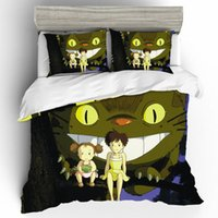 Wholesale totoro bedding resale online - Duvet Cover King Size Bed Set Home Textiles High quality Cartoon Totoro D King Size Bedding Sets Bedclothes With Pillowcase Z