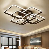 yatak odası kare tavan ışıkları toptan satış-Siyah Kare Yemek Yemek Odası Için Modern LED Avizeler Aydınlatma Yatak Odası Ev Tavan Dekor Işıklar Fikstür Lamba Cilası