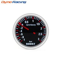 sensor de impulso al por mayor-Dynoracing 2''52MM 3 BAR Boost Turbo Gauge Mecánico blanco Led Boost Gauge Sensor de aumento de lente de humo