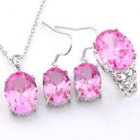 conjuntos de anillo de boda de color rosa al por mayor-3 Piezas / set Conjuntos de joyas de boda Óvalo Rosa Cristal Circón Plata de ley 925 Colgantes Plateados Anillos Cuelgan Aretes Conjunto de joyas
