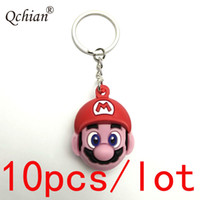 Wholesale 3d silicone keychain resale online - 10pcs Beautiful Gift for Kids D Super Mario Red Blue Pendant Double Sided Silicone Keychain