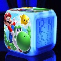 flash levou relógio venda por atacado-Super Mario Bros Alarm Clock Crianças LED Clock Noite dos desenhos animados Luz Flash 7 Cor Mudar Eletrônica Digital Desk