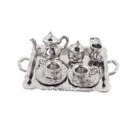 ingrosso caffè in miniatura-10 pezzi 1:12 Dollhouse Miniature Silver Metal Set da caffè Set da tavola per casa delle bambole, scatola da camera, modello di casa