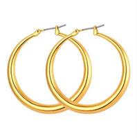 pendientes de mujer de oro real al por mayor-Estilo de gran tamaño de moda Pendientes de aro grandes para mujer Moda 18K chapado en oro real Baloncesto Esposas Tamaño grande Pendientes E424