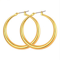 Wholesale gold filled 18k hoops resale online - Trendy Big Size Style Large Hoop Earrings For Women Fashion K Real Gold Plated Basketball Wives Big Size Earrings E424