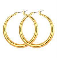 große goldband ohrringe 18k großhandel-Trendy Große Größe Stil Große Creolen Für Frauen Mode 18 Karat Reales Gold Überzogene Basketballfrauen Große Größe Ohrringe E424