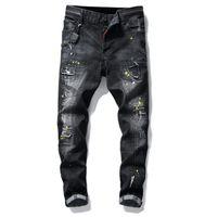 Wholesale free style paintings resale online - big size jeans spring new men s paint hole style luxury jeans denim pants slim fit casual Pencil jeans