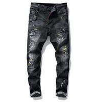 homens pintados calças casuais venda por atacado-Tamanho grande calça jeans 2019 primavera nova pintura dos homens buraco estilo de luxo jeans calças jeans slim fit casual lápis jeans frete grátis 1010