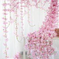 corona colgante para la boda al por mayor-230cm seda flor de cerezo de Sakura Vine Lvy Arco de la boda decoración de diseño partido casero Rattan colgar de la pared de la guirnalda de la guirnalda de Honderos