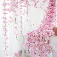 Wholesale wedding party basket resale online - 230cm Silk Sakura Cherry Blossom Vine Lvy Wedding Arch Decoration Layout Home Party Rattan Wall Hanging Garland Wreath Slingers