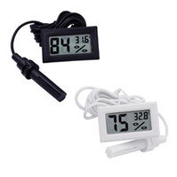 Wholesale Mini Digital LCD Thermometer Hygrometer Temperature Humidity Meter Thermometer probe white and Black in stock SN2476