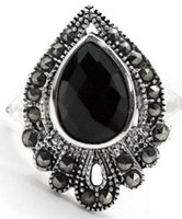 Wholesale black agate band ring resale online - JADE NATURAL drop black marcasite agate sterling silver silver ring Size