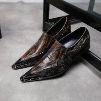 zapatos de acero con punta de los hombres al por mayor-Italiano estilo retro de lujo de los hombres zapatos de cuero genuino puntiagudo dedo del pie zapatos de oficina hombres de negocios estilo vestido de la marca