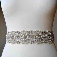 Custom Made Shiny Crystal Peal Beading Wedding Sashes Bride Dress Belt