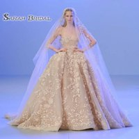 Wholesale blush beach wedding dresses for sale - Group buy 2020 Blush Sexy Saudi Arabia Wedding Reception Ball Gown Backless Bridal Dresses Plus Size Prom Dress Appliques Sheer Neck