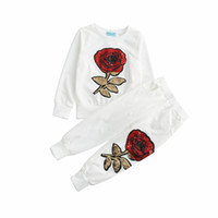 ingrosso ragazze tuta bianca-Autumn Sequins Girl T Shirt + Pants Set Casual Abbigliamento per bambini Vetement Fille Baby Tuta Black White Kids Clothes Suit