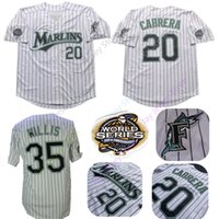 florida jerseys großhandel-Dontrelle Willis Florida Marlins Trikots 2003 WS World Series 20 Miguel Cabrera Trikot White Pinstripe Home Größe M L XL 2XL 3XL