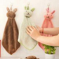 coelho mãos livres venda por atacado-Frete Grátis Hot coelho bonito pequeno quadrado toalha de cozinha banheiro toalha de mão de suspensão toalha de lã coral