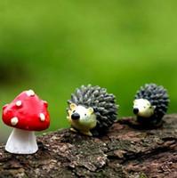 mini decoraciones de setas al por mayor-Adorno en miniatura Hedgehog Mushroom Set Decor Fairy Garden caliente mini Hedgehog Mushroom Set decoraciones para el hogar