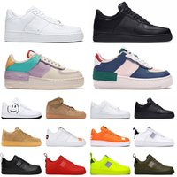 sport shoes al por mayor-Nike Air Force 1 shoes airforce 1 Utility Classic Black White Dunk Hombres Mujeres Casual Shoes red one Sports Skateboard High Low Cut Wheat Entrenadores Zapatillas 36-45
