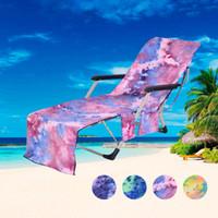 sandalye bağları toptan satış-Plaj Sandalye Kapak Sıcak Şezlong Mate Plaj Havlusu Tek Katmanlı Kravat-boya Güneşlenme Şezlong Yatak Açık Oyunları Plaj Sandalye Kapak CCA11689 10 adet