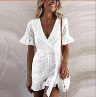 beyaz dantelli rompers women toptan satış-Zarif Dantel Beyaz Tulum Yaz Tulum Kadınlar Geniş Bacak Pantolon Tulumlar Geri Romper Genel Oymak
