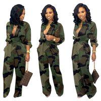 ropa de camuflaje gratis al por mayor-Mujeres del diseñador JumpsuitsRompers bootcut pantalones de camuflaje leopardo flojos Trajes de manga larga ropa de moda de los marcos del envío de DHL 1579