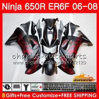 ingrosso kit di equilibratura per il ninja kawasaki-Corpo per KAWASAKI NINJA 650R ER6 F 650 R ER6F 06 07 08 Cowling 29HC.0 Ninja650R ER-6F 06 08 ER 6F 2006 2007 2008 Kit carenatura Rosso opaco nero