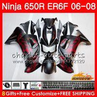 verkleidungssätze für kawasaki ninja großhandel-Karosserie Für KAWASAKI NINJA 650R ER6 F 650R ER6F 06 07 08 Verkleidung 29HC.0 Ninja650R ER-6F 06 08 ER 6F 2006 2007 2008 Verkleidungssatz Matt rot schwarz