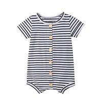 ingrosso ragazzi ragazzi toddler-Toddler Baby Boys Stripes Tute Maniche corte bottone anteriore strisce bianche e nere Tute 100% cotone Estate Bambini Ragazzi Onesies 0-2T