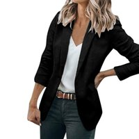 blazers de señora verde al por mayor-Blazer holgado de mujer formal Blazer casual de manga larga Femenino Señoras Office Lady Wear Blusa de abrigo verde blanco negro