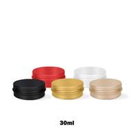Wholesale cosmetic jar stock resale online - 30ml Empty Refillable Aluminum Jars oz Gold Black Metal Tin Cosmetic CrafPackaging Cosmetic Small Aluminum Box MMA2871
