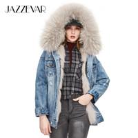 warmer wintermantel pelzfutter großhandel-JAZZEVAR 2018 neue Winter High Fashion Street Womans Denim Pelzmantel Real Fox Fur Parka Abnehmbares Futter Kapuzenjacken