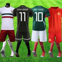 conjuntos de futebol preto venda por atacado-México preto 19 20 CHICHARITO H. LOZANO Goleiro OCHOA equipe do México ordem Definir Homens de Futebol GK Camisa De Futebol Uniforme shorts meias kits completos