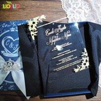ingrosso foglio di invito-Accogli il tuo disegno di invito in acrilico trasparente per inviti di nozze con lamine d'oro con satin